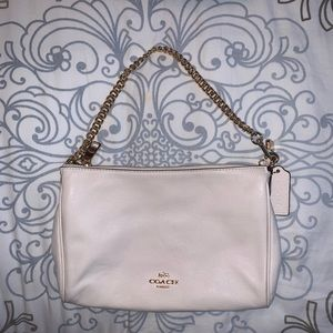 Coach White Leather Crossbody w/adjustable strap
